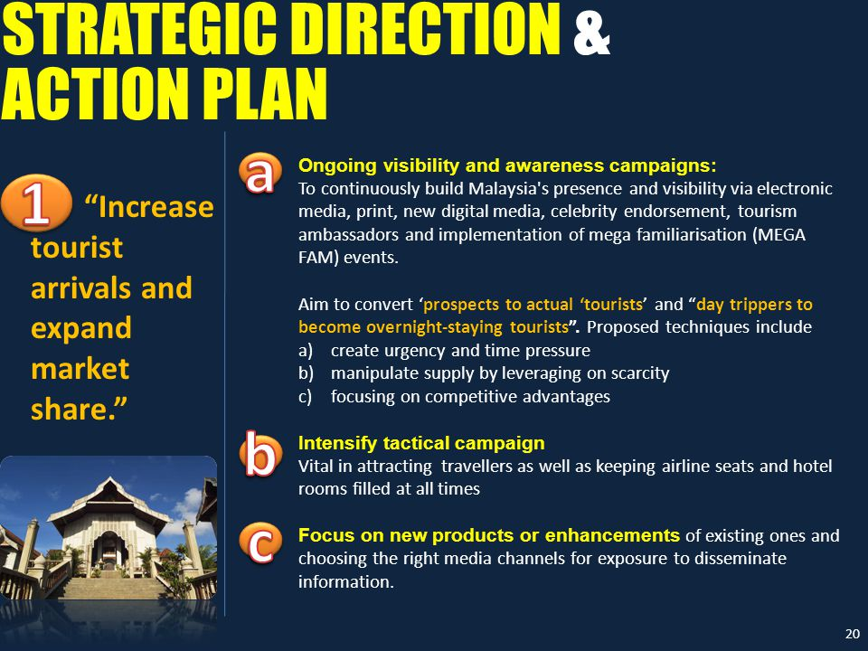STRATEGIC DIRECTION & Ongoing visibility and awareness campaigns: To continuously build Malaysia s presence and visibility via electronic media, print, new digital media, celebrity endorsement, tourism ambassadors and implementation of mega familiarisation (MEGA FAM) events.