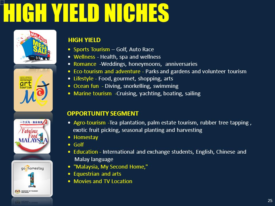 HIGH YIELD NICHES Sports Tourism – Golf, Auto Race Wellness - Health, spa and wellness Romance -Weddings, honeymoons, anniversaries Eco-tourism and ad
