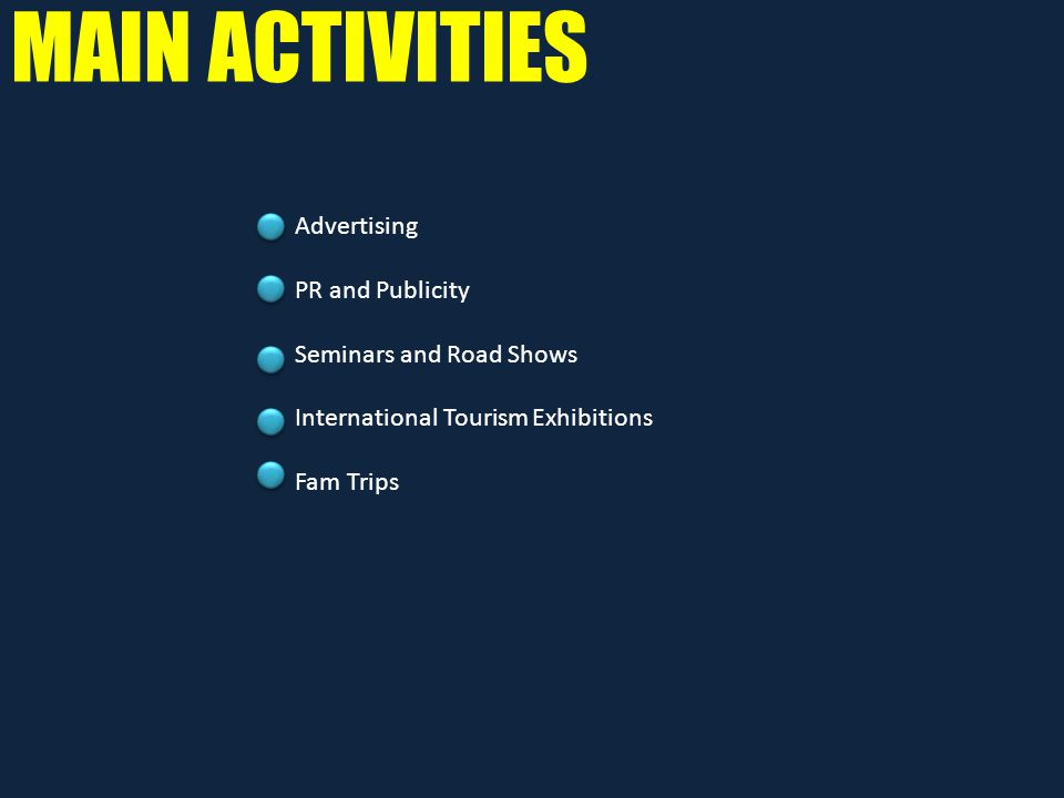 MAIN ACTIVITIES Advertising PR and Publicity Seminars and Road Shows International Tourism Exhibitions Fam Trips