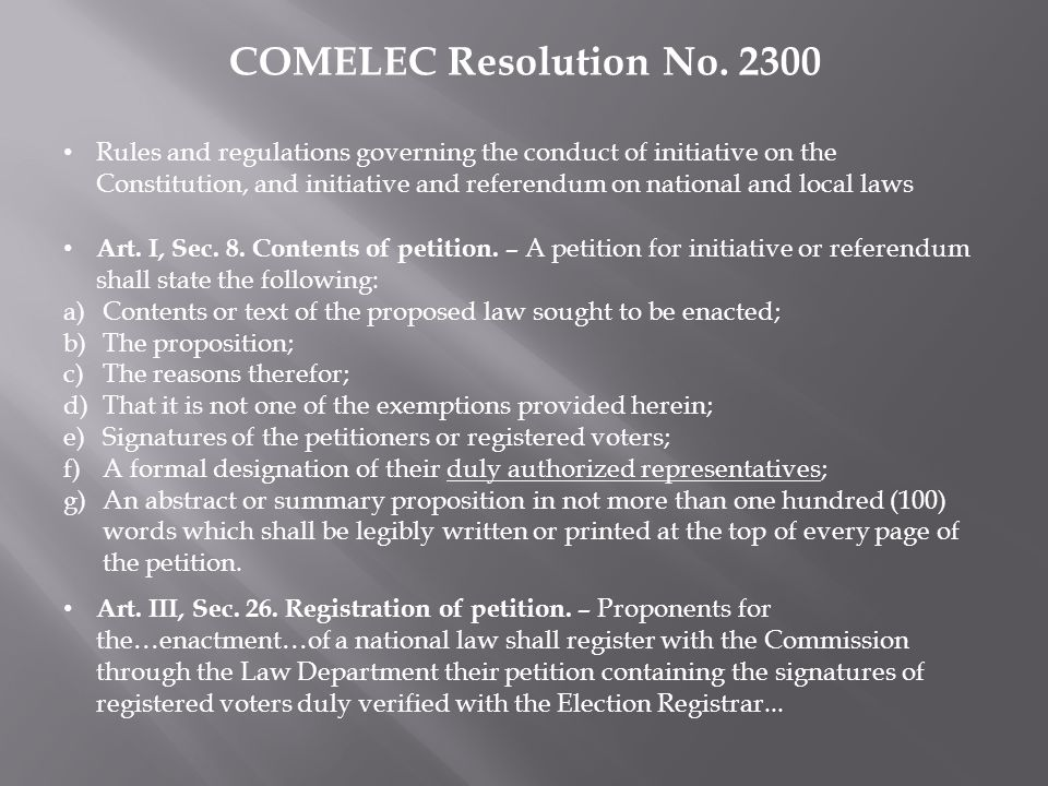 COMELEC Resolution No. 2300 Rules and regulations governing the conduct of initiative on the Constitution, and initiative and referendum on national a