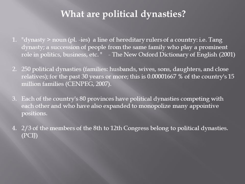 What are political dynasties. 1. dynasty > noun (pl.