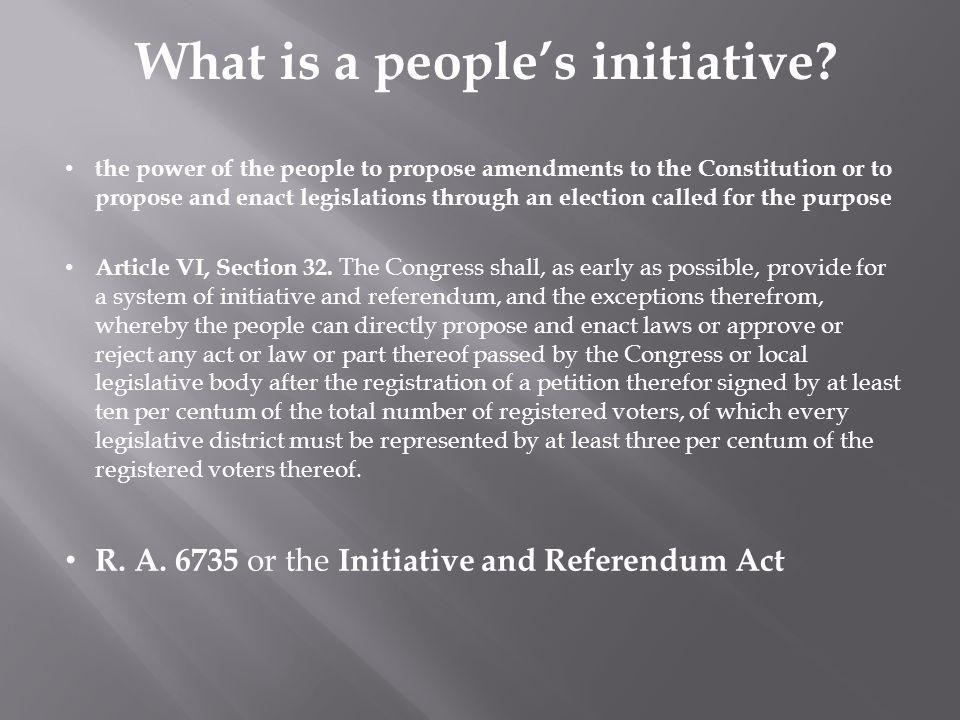 What is a people's initiative.