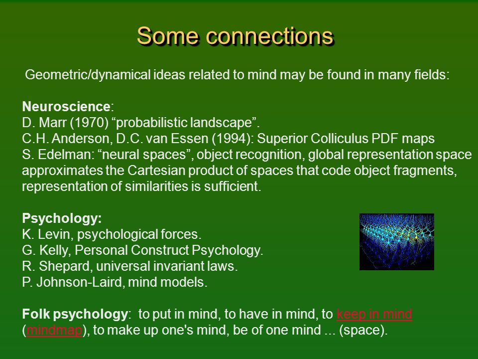 """Some connections Geometric/dynamical ideas related to mind may be found in many fields: Neuroscience: D. Marr (1970) """"probabilistic landscape"""". C.H. A"""