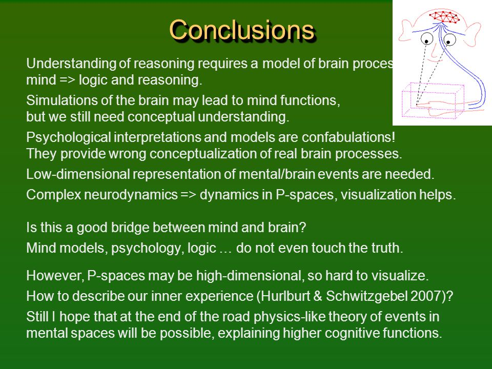 ConclusionsConclusions Understanding of reasoning requires a model of brain processes => mind => logic and reasoning. Simulations of the brain may lea