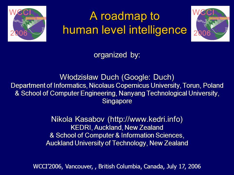 A roadmap to human level intelligence organized by: Włodzisław Duch (Google: Duch) Department of Informatics, Nicolaus Copernicus University, Torun, P