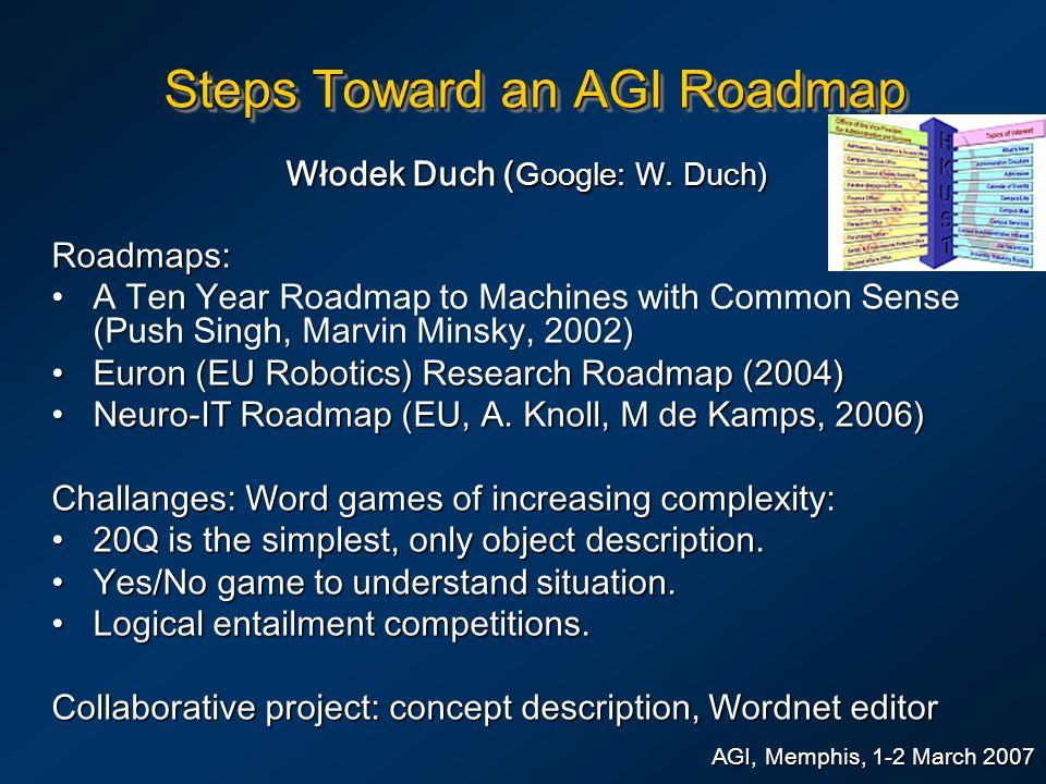 Steps Toward an AGI Roadmap Włodek Duch ( Google: W. Duch) AGI, Memphis, 1-2 March 2007 Roadmaps: A Ten Year Roadmap to Machines with Common Sense (Pu
