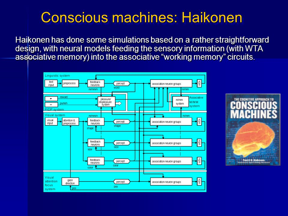 Conscious machines: Haikonen Haikonen has done some simulations based on a rather straightforward design, with neural models feeding the sensory infor