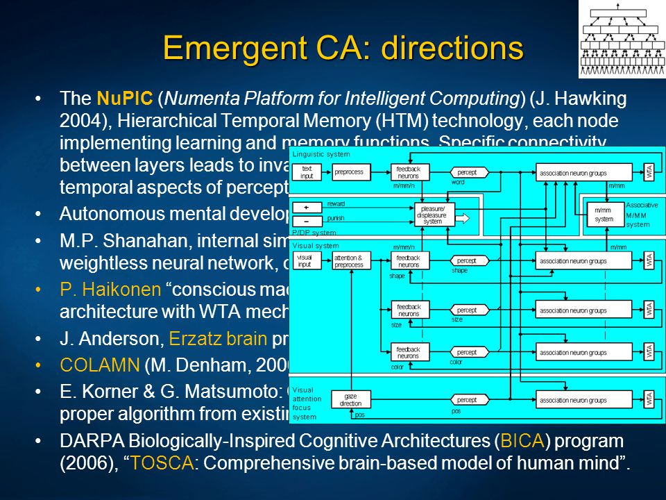 Emergent CA: directions The NuPIC (Numenta Platform for Intelligent Computing) (J. Hawking 2004), Hierarchical Temporal Memory (HTM) technology, each