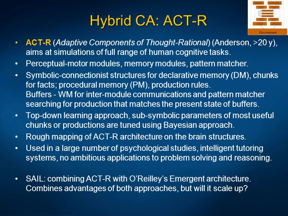 Hybrid CA: ACT-R ACT-R (Adaptive Components of Thought-Rational) (Anderson, >20 y), aims at simulations of full range of human cognitive tasks. Percep
