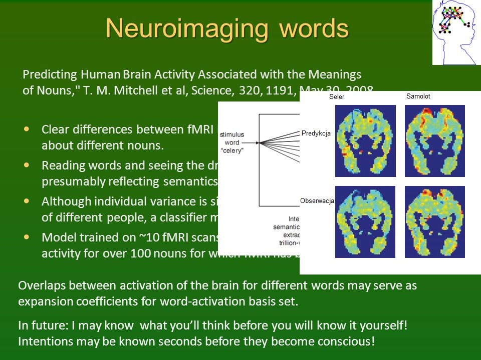Neuroimaging words Predicting Human Brain Activity Associated with the Meanings of Nouns,