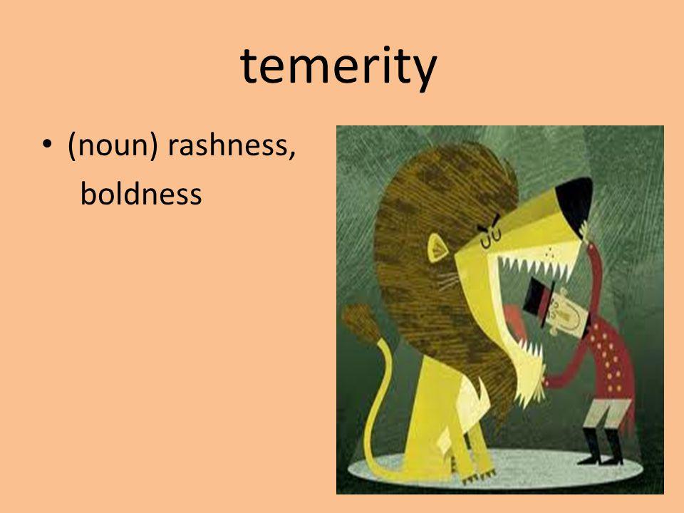 temerity (noun) rashness, boldness