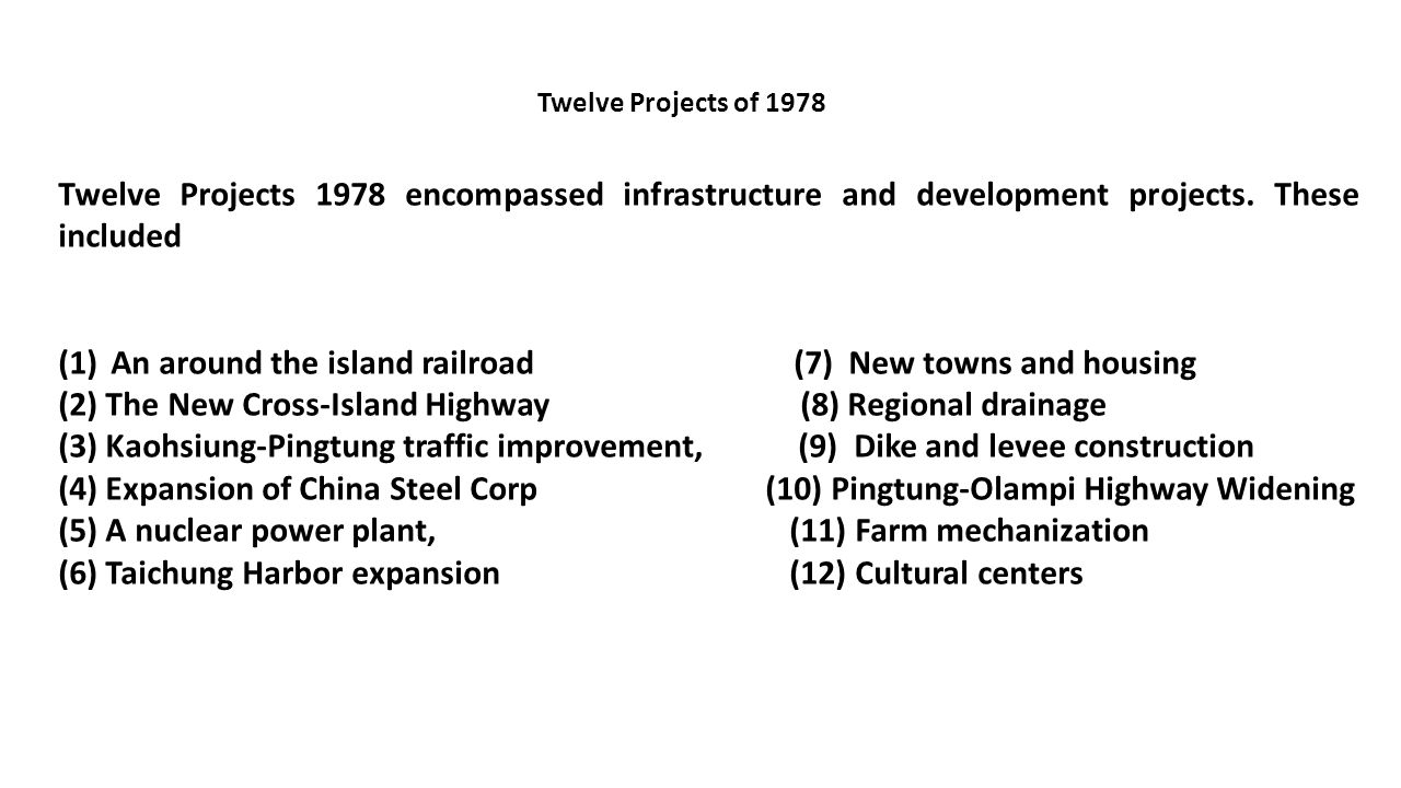 Twelve Projects 1978 encompassed infrastructure and development projects. These included (1)An around the island railroad (7) New towns and housing (2
