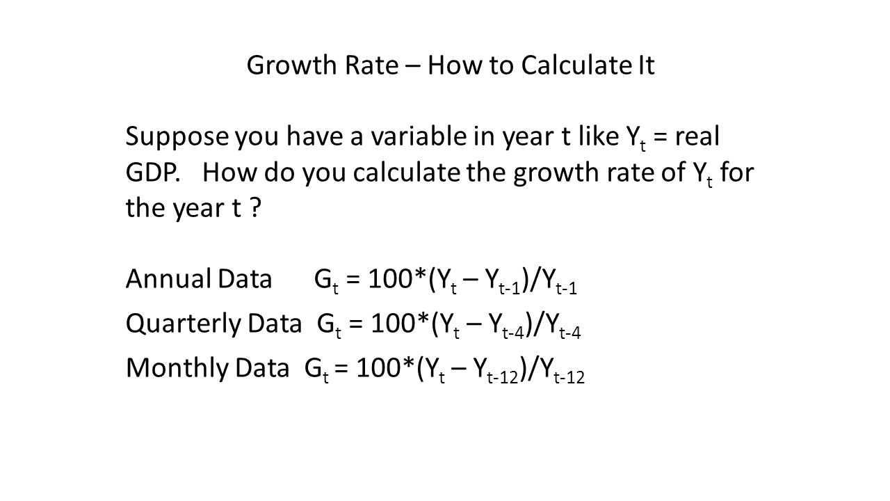 Growth Rate – How to Calculate It Suppose you have a variable in year t like Y t = real GDP.