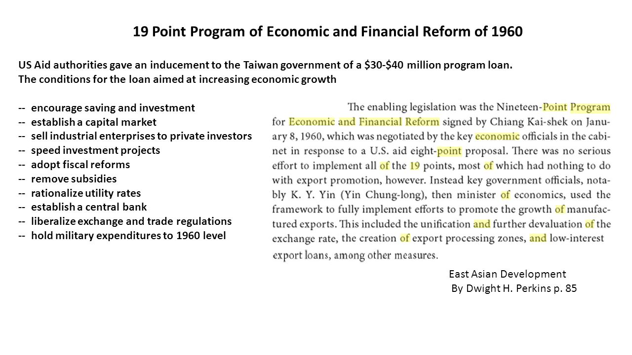 19 Point Program of Economic and Financial Reform of 1960 US Aid authorities gave an inducement to the Taiwan government of a $30-$40 million program loan.