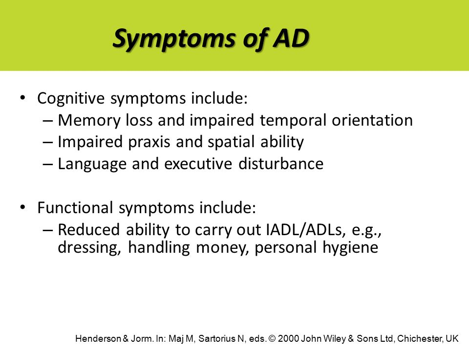 Symptoms of AD Cognitive symptoms include: – Memory loss and impaired temporal orientation – Impaired praxis and spatial ability – Language and executive disturbance Functional symptoms include: – Reduced ability to carry out IADL/ADLs, e.g., dressing, handling money, personal hygiene Henderson & Jorm.