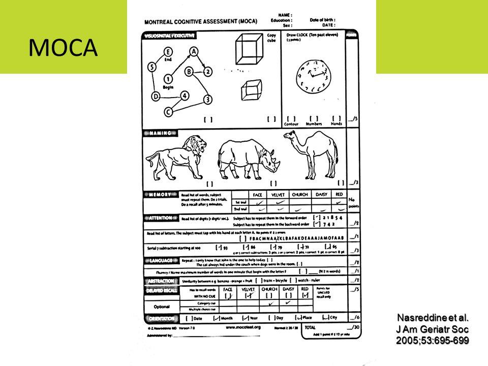 MOCA Nasreddine et al. J Am Geriatr Soc 2005;53:695-699