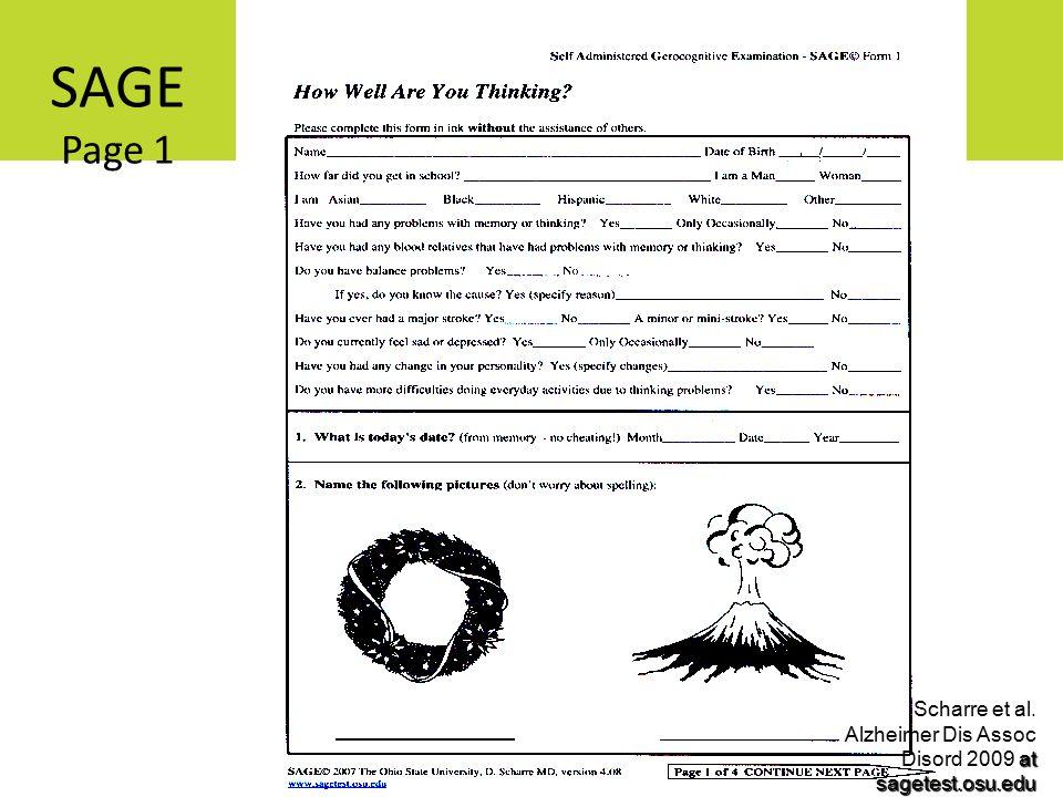 SAGE Page 1 at sagetest.osu.edu Scharre et al. Alzheimer Dis Assoc Disord 2009 at sagetest.osu.edu