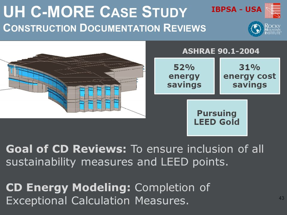 IBPSA - USA UH C-MORE C ASE S TUDY C ONSTRUCTION D OCUMENTATION R EVIEWS Goal of CD Reviews: To ensure inclusion of all sustainability measures and LEED points.