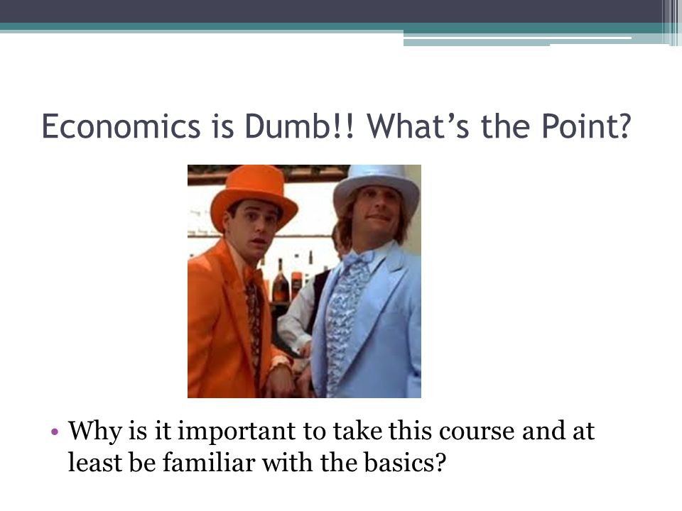 Economics is Dumb!.What's the Point.