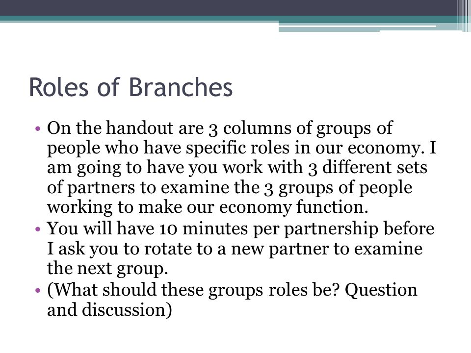 Roles of Branches On the handout are 3 columns of groups of people who have specific roles in our economy.