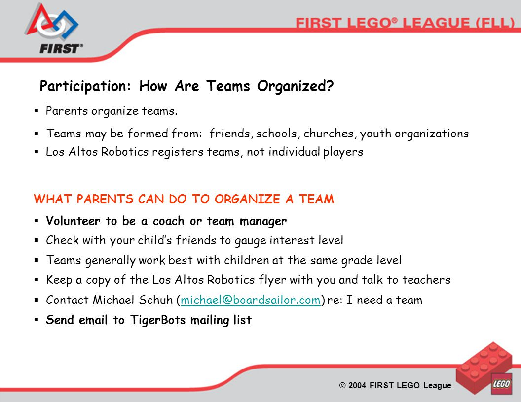 © 2004 FIRST LEGO League Participation: How Are Teams Organized.
