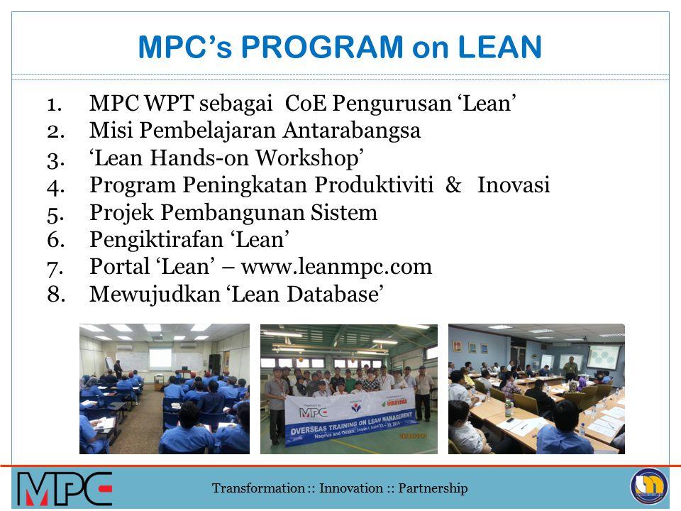 Transformation :: Innovation :: Partnership MPC LEAN- QE HIGH IMPACT ROAD MAP