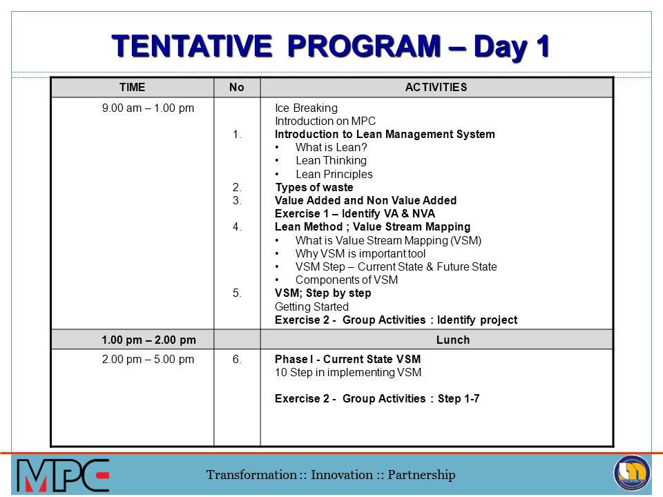 Transformation :: Innovation :: Partnership TIMENoACTIVITIES 9.00 am – 1.00 pm 1.
