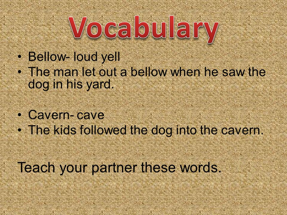 Bellow- loud yell The man let out a bellow when he saw the dog in his yard.