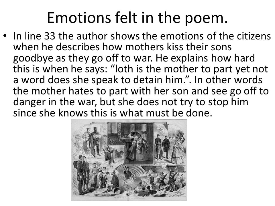 Emotions felt in the poem.