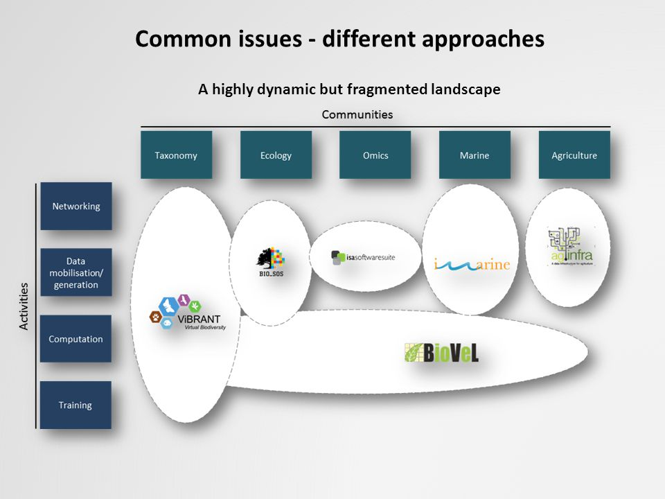 A highly dynamic but fragmented landscape Common issues - different approaches