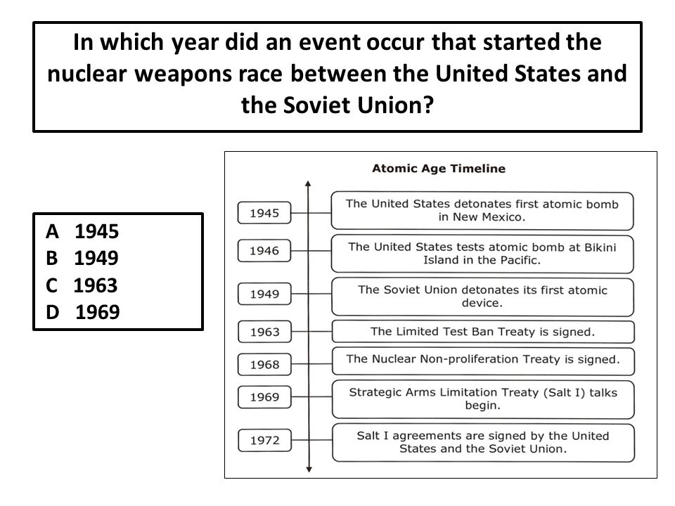 In which year did an event occur that started the nuclear weapons race between the United States and the Soviet Union.