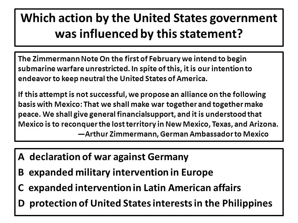 Which action by the United States government was influenced by this statement.