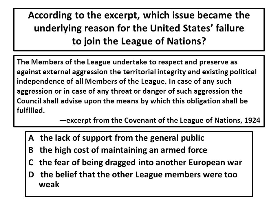 According to the excerpt, which issue became the underlying reason for the United States' failure to join the League of Nations.