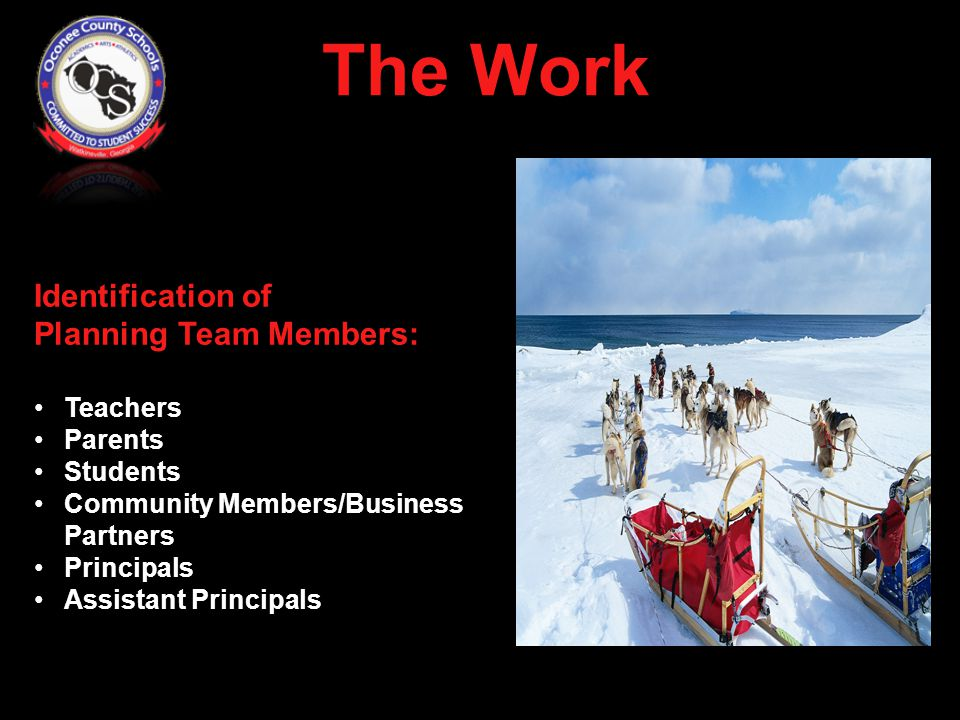 Identification of Planning Team Members: Teachers Parents Students Community Members/Business Partners Principals Assistant Principals District Leaders The Work