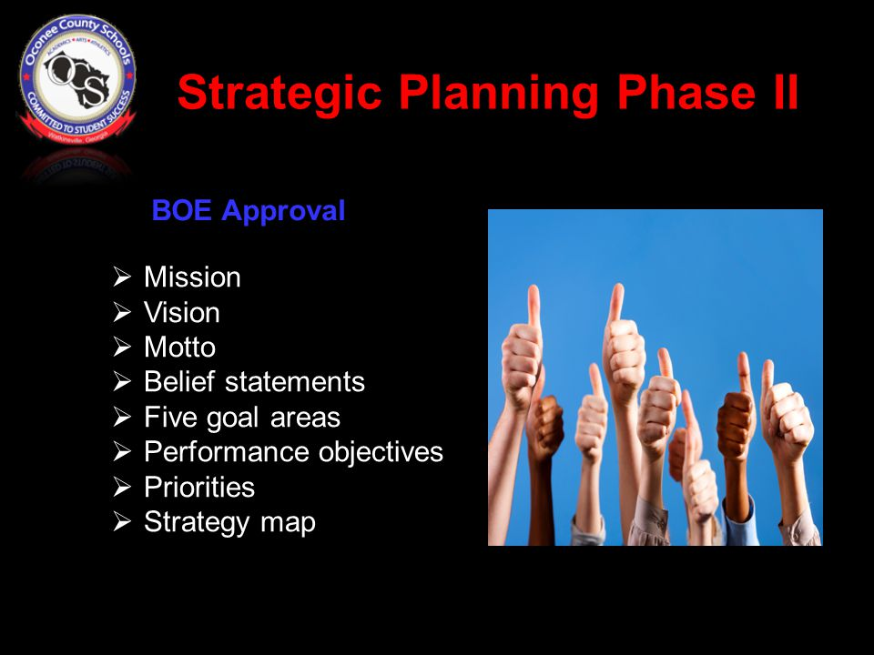 Strategic Planning Phase II  Mission  Vision  Motto  Belief statements  Five goal areas  Performance objectives  Priorities  Strategy map BOE Approval