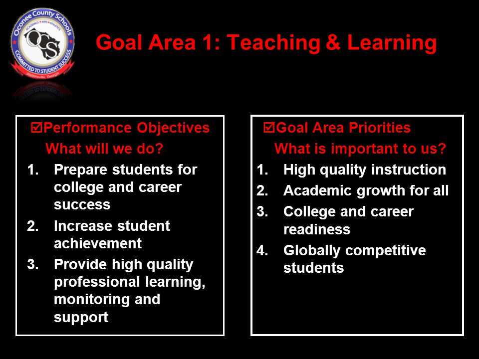 Goal Area 1: Teaching & Learning  Goal Area Priorities What is important to us.