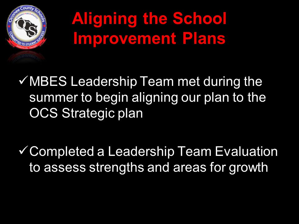 MBES Leadership Team met during the summer to begin aligning our plan to the OCS Strategic plan Completed a Leadership Team Evaluation to assess strengths and areas for growth
