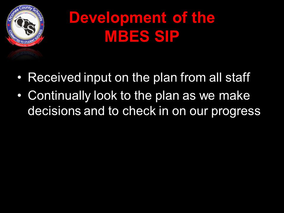 Development of the MBES SIP Received input on the plan from all staff Continually look to the plan as we make decisions and to check in on our progress
