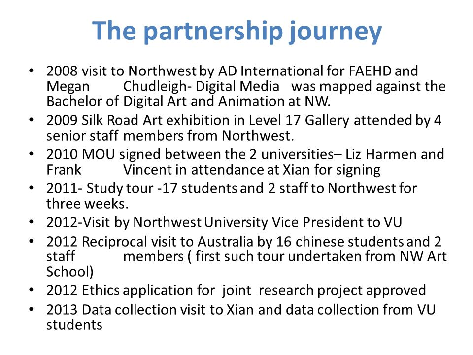 The partnership journey 2008 visit to Northwest by AD International for FAEHD and Megan Chudleigh- Digital Media was mapped against the Bachelor of Digital Art and Animation at NW.