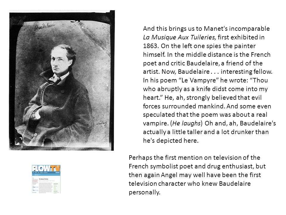 And this brings us to Manet s incomparable La Musique Aux Tuileries, first exhibited in 1863.