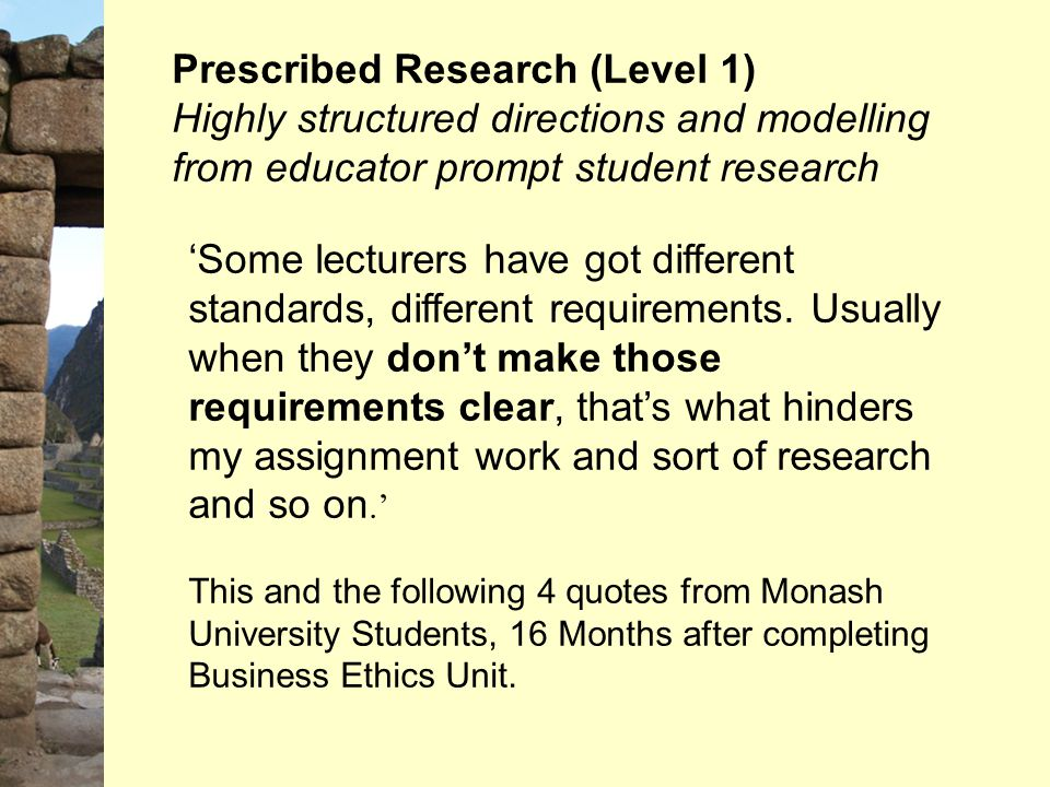 Prescribed Research (Level 1) Highly structured directions and modelling from educator prompt student research 'Some lecturers have got different stan