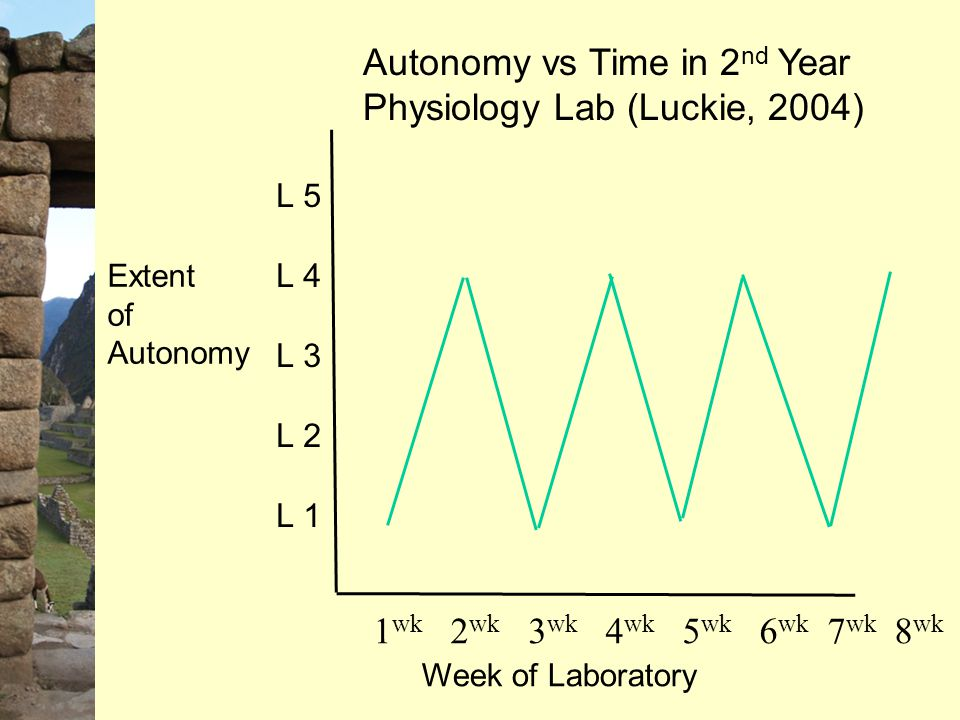 Autonomy vs Time in 2 nd Year Physiology Lab (Luckie, 2004) Week of Laboratory 1 wk 2 wk 3 wk 4 wk 5 wk 6 wk 7 wk 8 wk Extent of Autonomy L 5 L 4 L 3