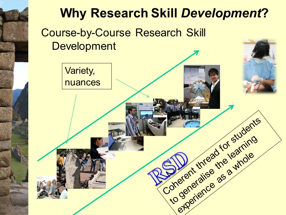 Why Research Skill Development? Course-by-Course Research Skill Development Variety, nuances Coherent thread for students to generalise the learning e