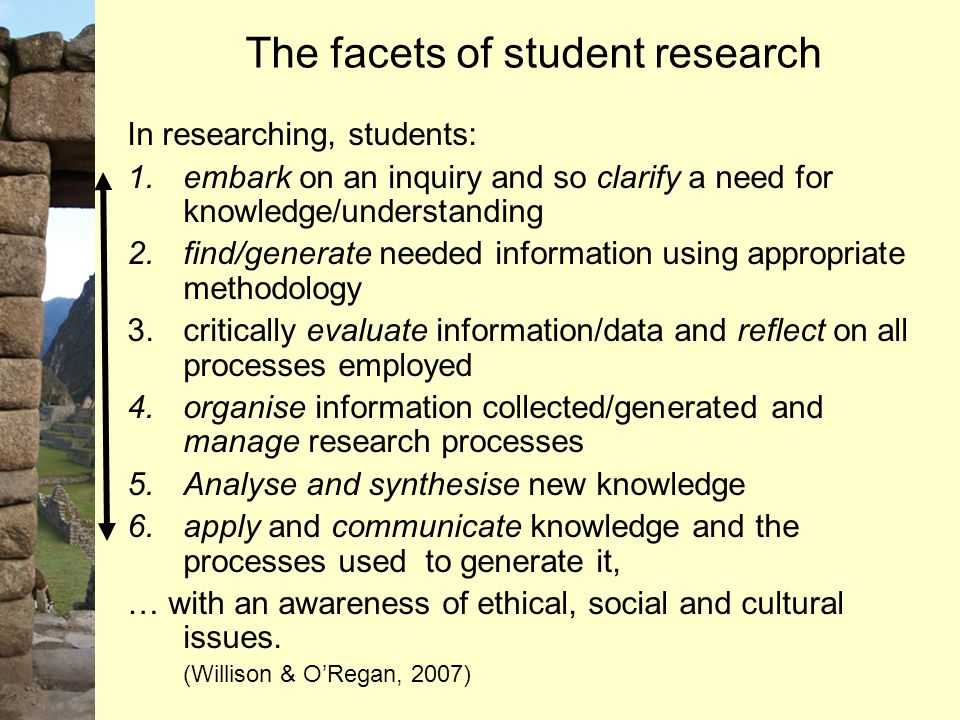 The facets of student research In researching, students: 1.embark on an inquiry and so clarify a need for knowledge/understanding 2.find/generate need