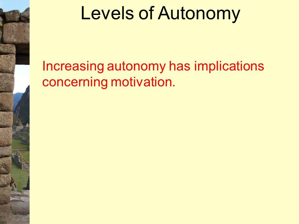 Increasing autonomy has implications concerning motivation. Levels of Autonomy