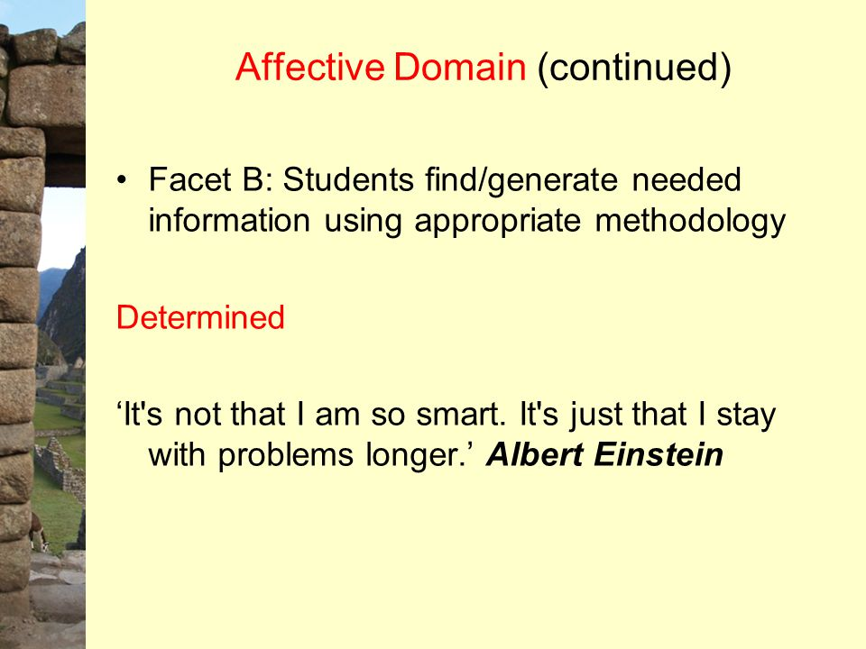 Affective Domain (continued) Facet B: Students find/generate needed information using appropriate methodology Determined 'It's not that I am so smart.