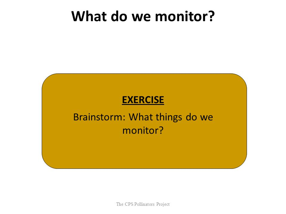 The CPS Pollinators Project What do we monitor? EXERCISE Brainstorm: What things do we monitor?