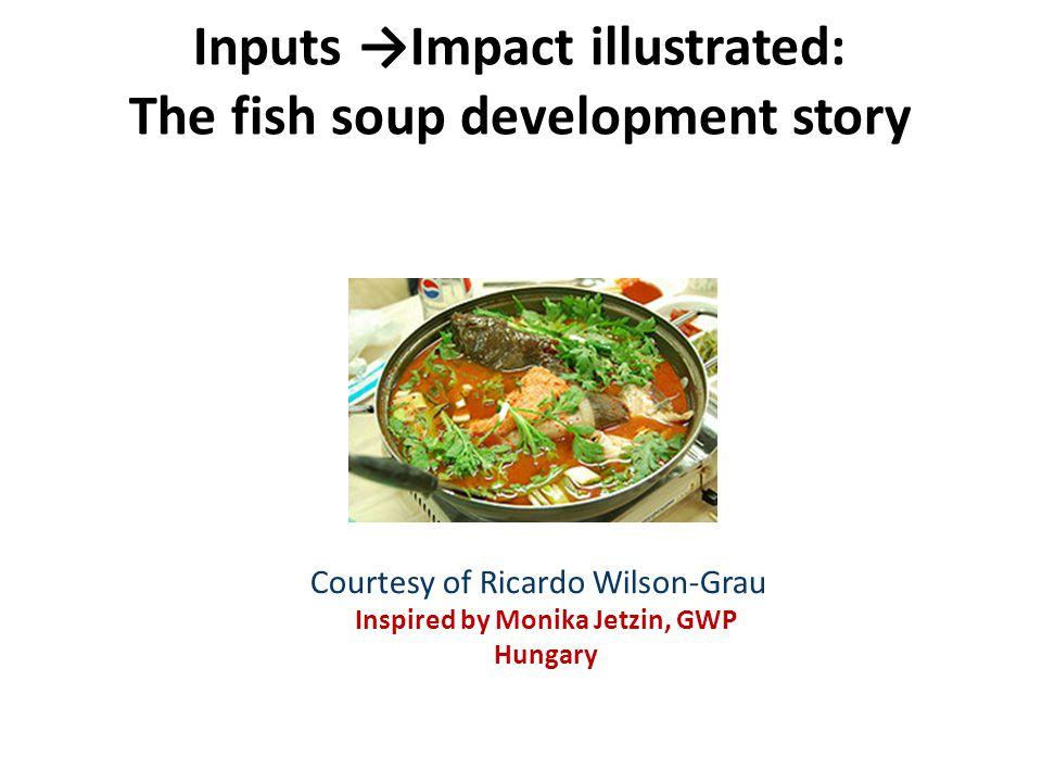 Inputs →Impact illustrated: The fish soup development story Courtesy of Ricardo Wilson-Grau Inspired by Monika Jetzin, GWP Hungary