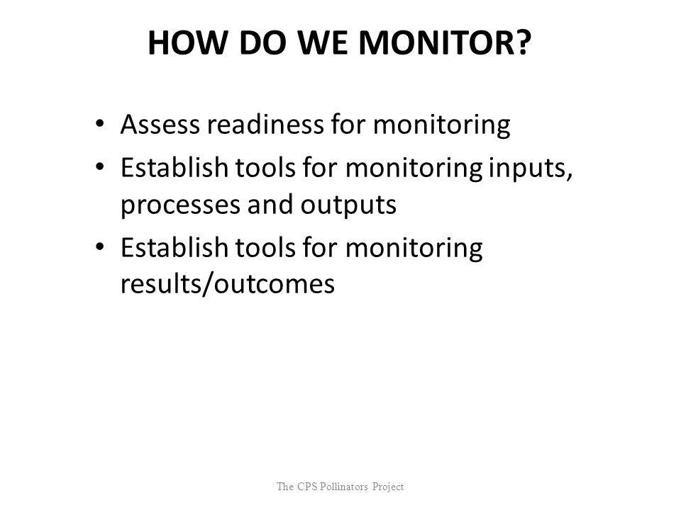The CPS Pollinators Project HOW DO WE MONITOR? Assess readiness for monitoring Establish tools for monitoring inputs, processes and outputs Establish