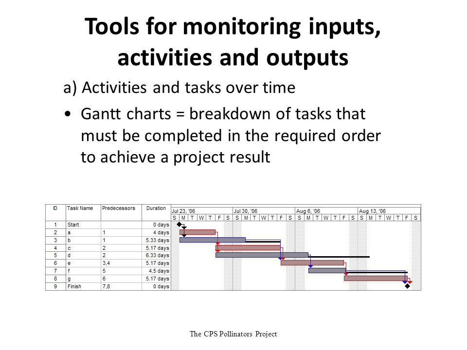 The CPS Pollinators Project Tools for monitoring inputs, activities and outputs a) Activities and tasks over time Gantt charts = breakdown of tasks th